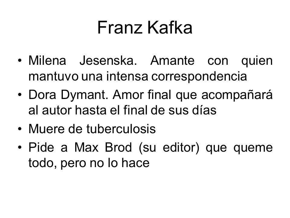 Franz Kafka Milena Jesenska.Amante con quien mantuvo una intensa correspondencia Dora Dymant.