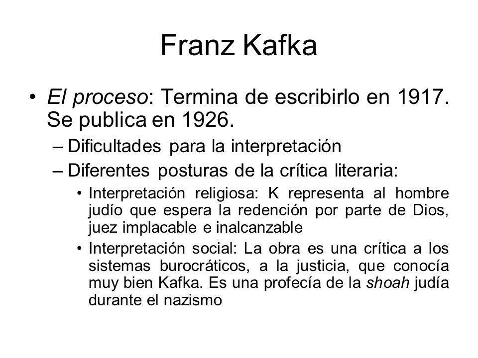 Franz Kafka El proceso: Termina de escribirlo en 1917.