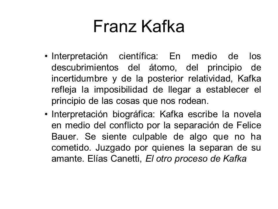 Franz Kafka Interpretación científica: En medio de los descubrimientos del átomo, del principio de incertidumbre y de la posterior relatividad, Kafka refleja la imposibilidad de llegar a establecer el principio de las cosas que nos rodean.
