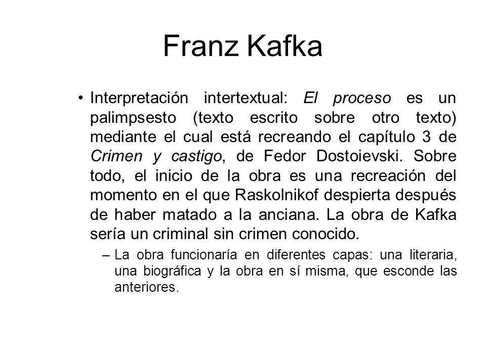 Franz Kafka Interpretación intertextual: El proceso es un palimpsesto (texto escrito sobre otro texto) mediante el cual está recreando el capítulo 3 de Crimen y castigo, de Fedor Dostoievski.