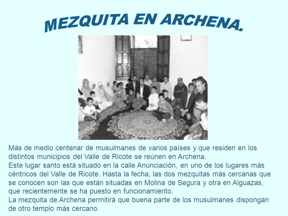More than 50 Moslems who live in the Ricote valley get together in Archena.