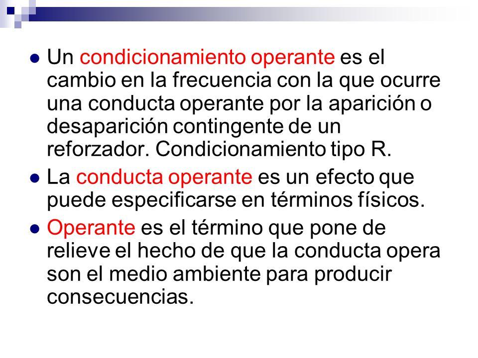 Un condicionamiento operante es el cambio en la frecuencia con la que ocurre una conducta operante por la aparición o desaparición contingente de un r