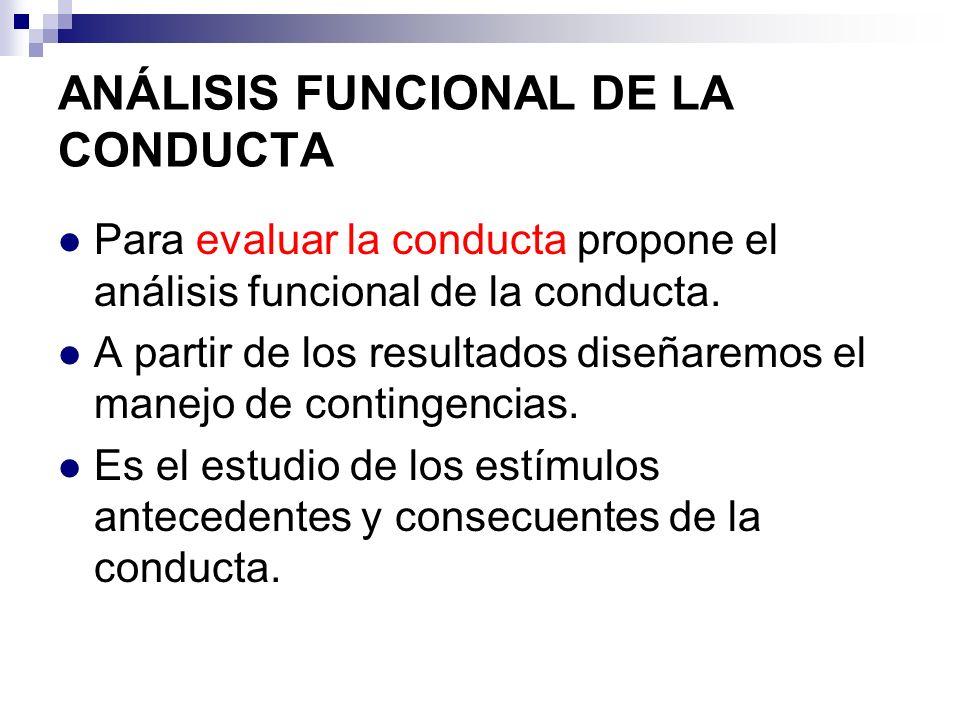ANÁLISIS FUNCIONAL DE LA CONDUCTA Para evaluar la conducta propone el análisis funcional de la conducta. A partir de los resultados diseñaremos el man