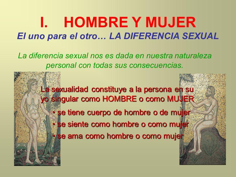 I.HOMBRE Y MUJER El uno para el otro… LA DIFERENCIA SEXUAL La sexualidad constituye a la persona en su yo singular como HOMBRE o como MUJER s se tiene