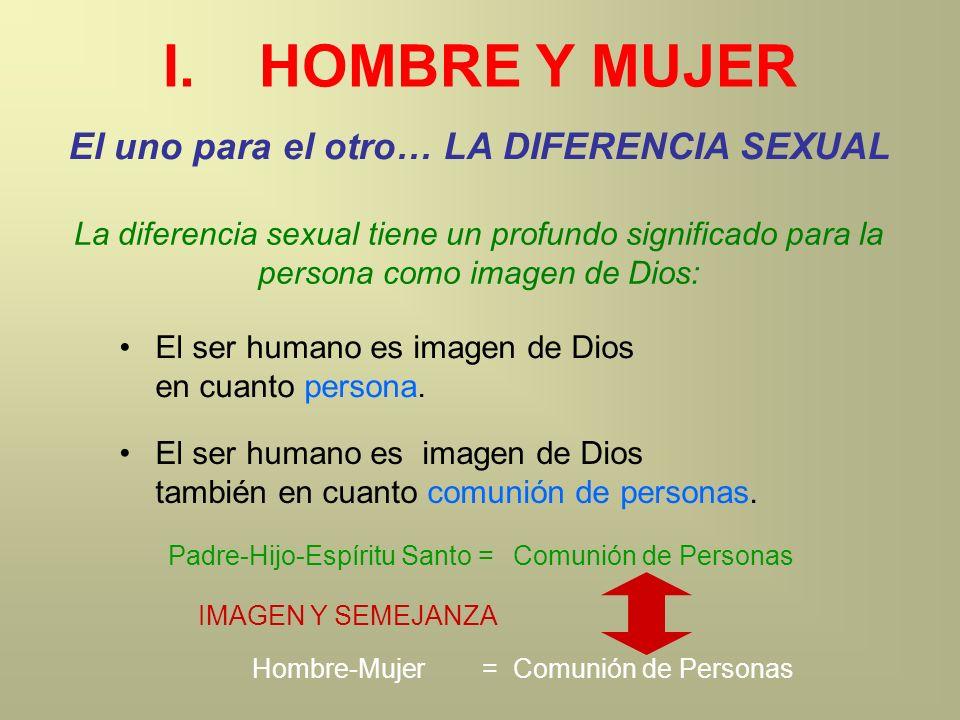 I.HOMBRE Y MUJER El uno para el otro… LA DIFERENCIA SEXUAL La diferencia sexual tiene un profundo significado para la persona como imagen de Dios: El