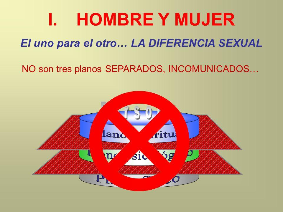 I.HOMBRE Y MUJER El uno para el otro… LA DIFERENCIA SEXUAL NO son tres planos SEPARADOS, INCOMUNICADOS…