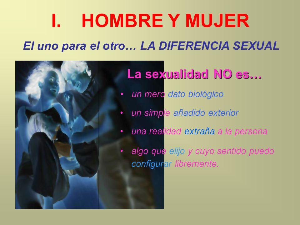 I.HOMBRE Y MUJER El uno para el otro… LA DIFERENCIA SEXUAL un mero dato biológico una realidad extraña a la persona un simple añadido exterior La sexu