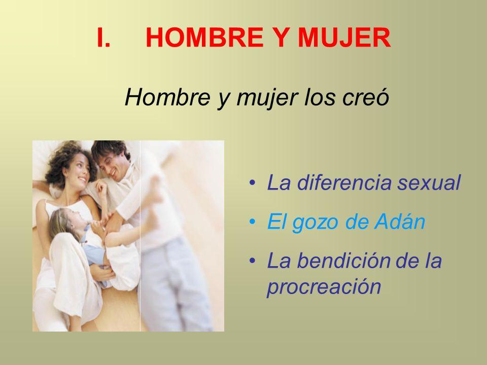 I.HOMBRE Y MUJER La diferencia sexual El gozo de Adán La bendición de la procreación Hombre y mujer los creó