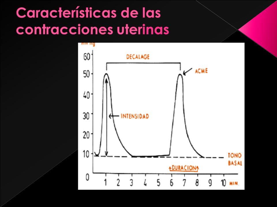 EMBARAZO: (Durante las 30 primeras semanas de gestación) Tono uterino : 3 ––8 mm Hg Actividad Uterina < de 20 U.