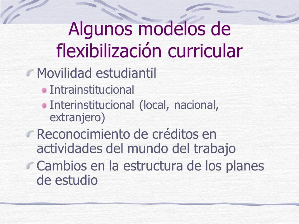 Algunos modelos de flexibilización curricular Movilidad estudiantil Intrainstitucional Interinstitucional (local, nacional, extranjero) Reconocimiento de créditos en actividades del mundo del trabajo Cambios en la estructura de los planes de estudio