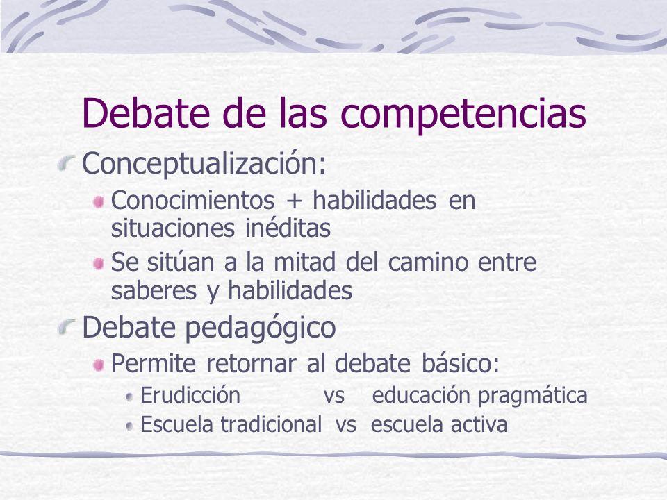 Debate de las competencias Conceptualización: Conocimientos + habilidades en situaciones inéditas Se sitúan a la mitad del camino entre saberes y habi