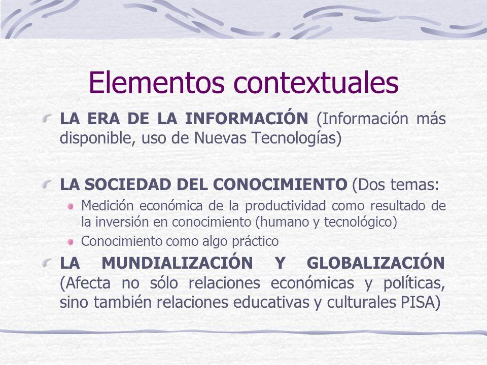 Elementos contextuales LA ERA DE LA INFORMACIÓN (Información más disponible, uso de Nuevas Tecnologías) LA SOCIEDAD DEL CONOCIMIENTO (Dos temas: Medición económica de la productividad como resultado de la inversión en conocimiento (humano y tecnológico) Conocimiento como algo práctico LA MUNDIALIZACIÓN Y GLOBALIZACIÓN (Afecta no sólo relaciones económicas y políticas, sino también relaciones educativas y culturales PISA)