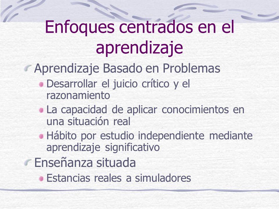 Enfoques centrados en el aprendizaje Aprendizaje Basado en Problemas Desarrollar el juicio crítico y el razonamiento La capacidad de aplicar conocimie