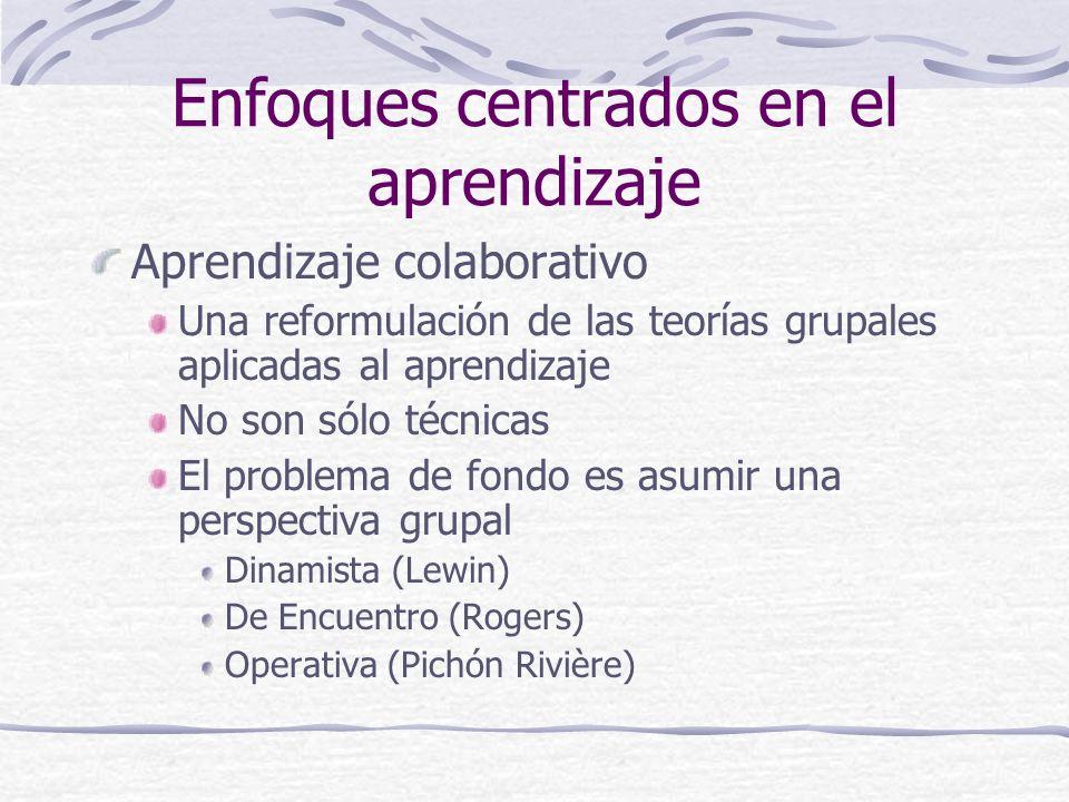 Enfoques centrados en el aprendizaje Aprendizaje colaborativo Una reformulación de las teorías grupales aplicadas al aprendizaje No son sólo técnicas El problema de fondo es asumir una perspectiva grupal Dinamista (Lewin) De Encuentro (Rogers) Operativa (Pichón Rivière)