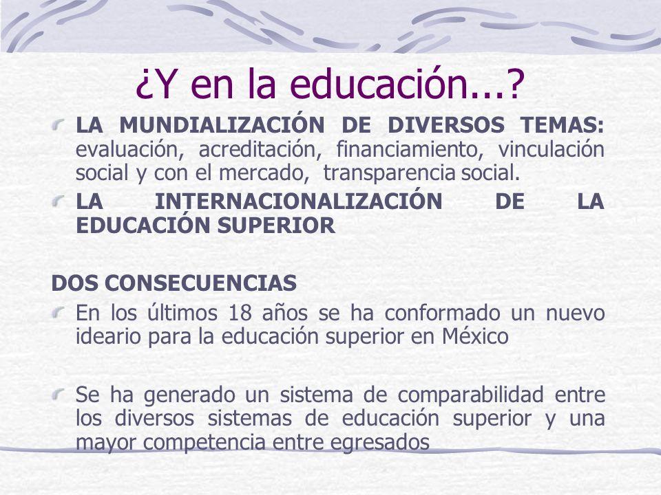¿Y en la educación...? LA MUNDIALIZACIÓN DE DIVERSOS TEMAS: evaluación, acreditación, financiamiento, vinculación social y con el mercado, transparenc