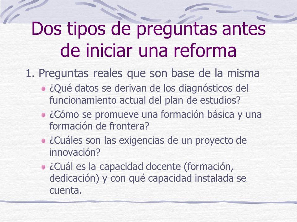 Dos tipos de preguntas antes de iniciar una reforma 1. Preguntas reales que son base de la misma ¿Qué datos se derivan de los diagnósticos del funcion