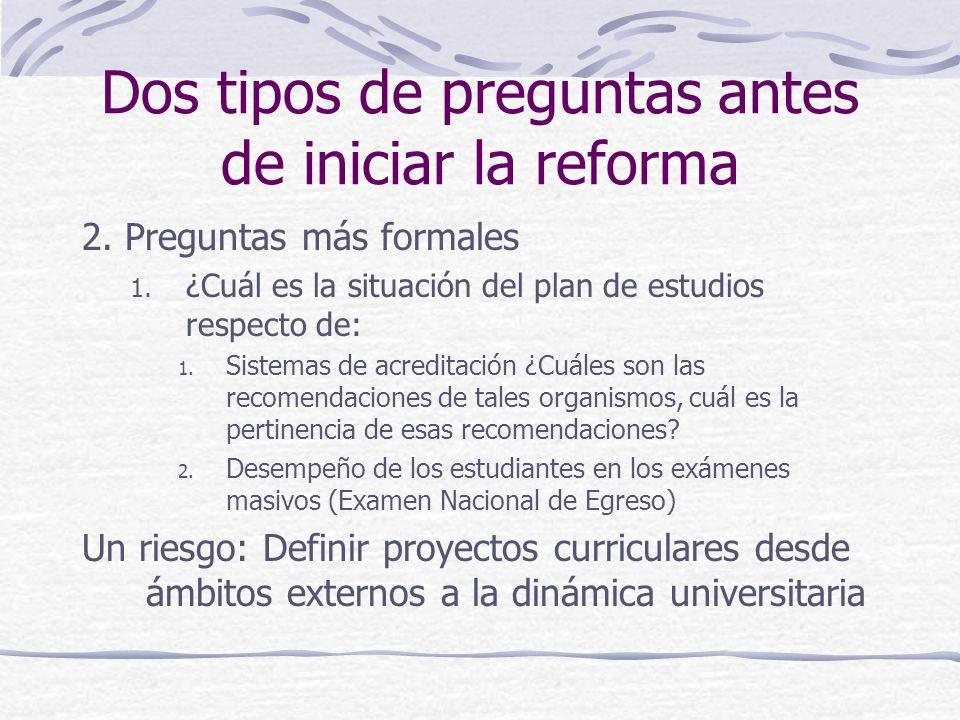 Dos tipos de preguntas antes de iniciar la reforma 2. Preguntas más formales 1. ¿Cuál es la situación del plan de estudios respecto de: 1. Sistemas de