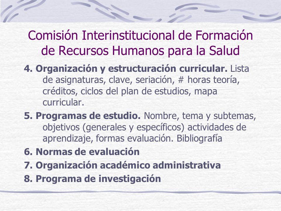 Comisión Interinstitucional de Formación de Recursos Humanos para la Salud 4. Organización y estructuración curricular. Lista de asignaturas, clave, s
