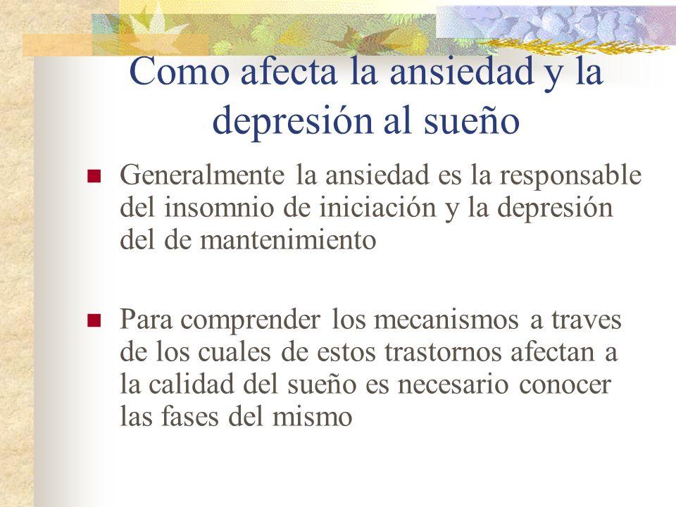 Como afecta la ansiedad y la depresión al sueño Generalmente la ansiedad es la responsable del insomnio de iniciación y la depresión del de mantenimiento Para comprender los mecanismos a traves de los cuales de estos trastornos afectan a la calidad del sueño es necesario conocer las fases del mismo