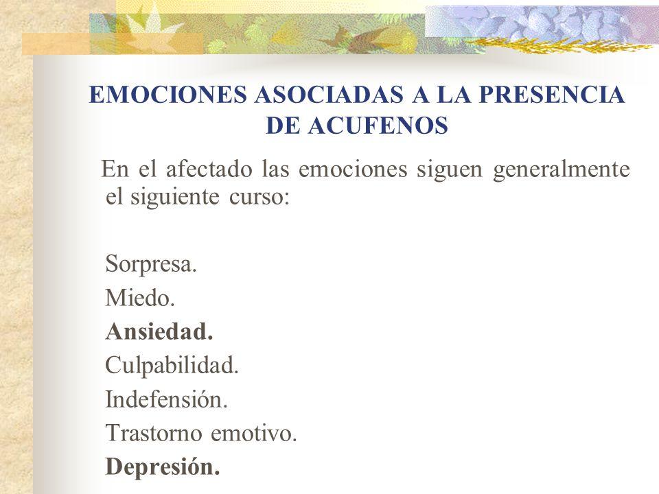 En el afectado las emociones siguen generalmente el siguiente curso: Sorpresa.
