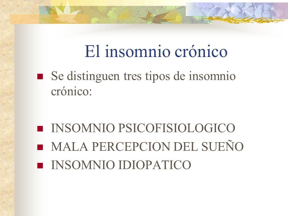 El insomnio crónico Se distinguen tres tipos de insomnio crónico: INSOMNIO PSICOFISIOLOGICO MALA PERCEPCION DEL SUEÑO INSOMNIO IDIOPATICO