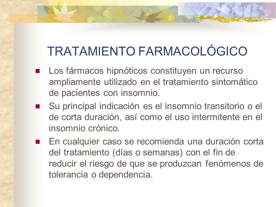 TRATAMIENTO FARMACOLÓGICO Los fármacos hipnóticos constituyen un recurso ampliamente utilizado en el tratamiento sintomático de pacientes con insomnio.