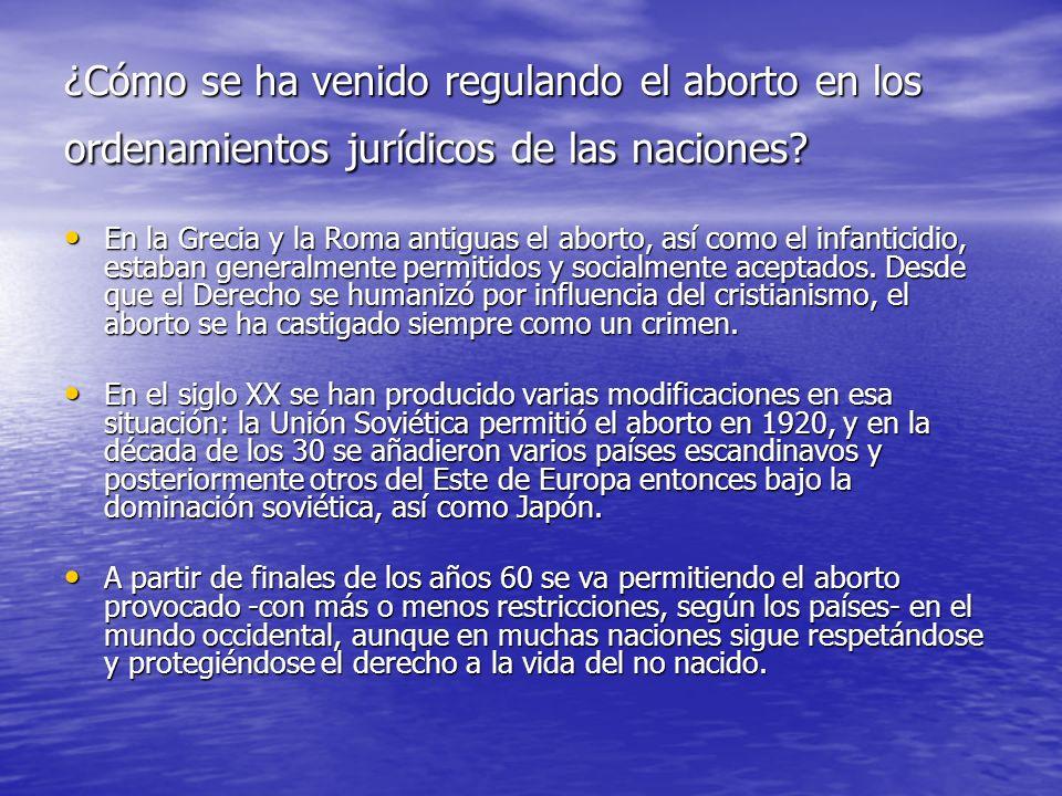 ¿Cómo se ha venido regulando el aborto en los ordenamientos jurídicos de las naciones? En la Grecia y la Roma antiguas el aborto, así como el infantic