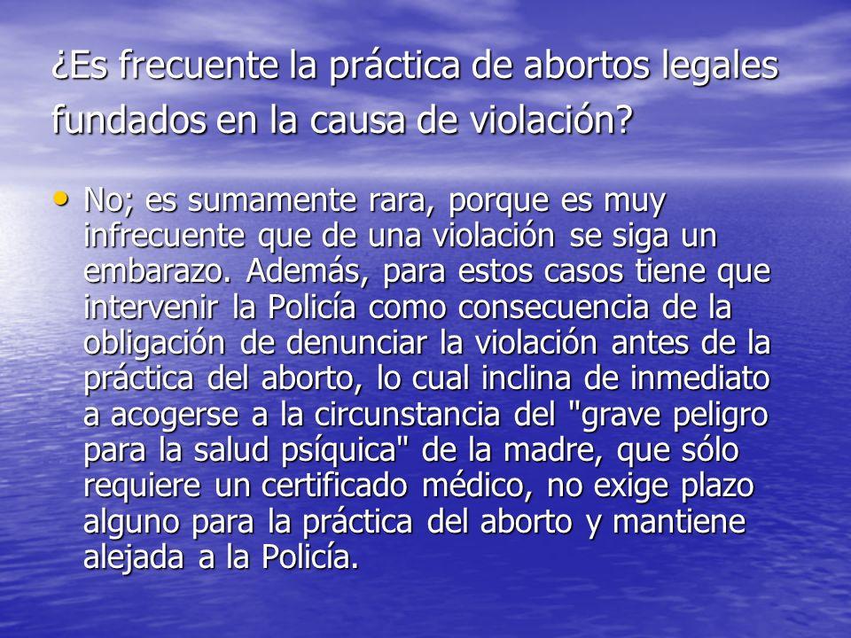 ¿Es frecuente la práctica de abortos legales fundados en la causa de violación? No; es sumamente rara, porque es muy infrecuente que de una violación