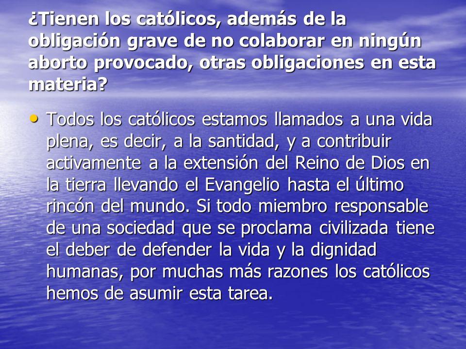 ¿Tienen los católicos, además de la obligación grave de no colaborar en ningún aborto provocado, otras obligaciones en esta materia? Todos los católic