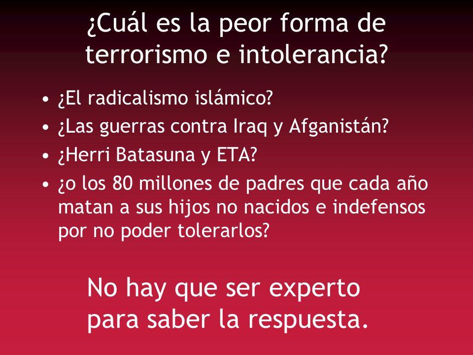 ¿Cuál es la peor forma de terrorismo e intolerancia? ¿El radicalismo islámico? ¿Las guerras contra Iraq y Afganistán? ¿Herri Batasuna y ETA? ¿o los 80