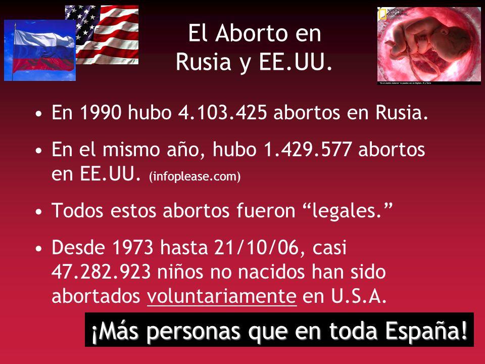 El Aborto en Rusia y EE.UU. En 1990 hubo 4.103.425 abortos en Rusia. En el mismo año, hubo 1.429.577 abortos en EE.UU. (infoplease.com) Todos estos ab