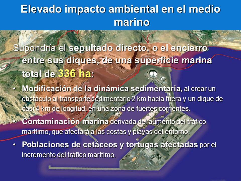 Elevado impacto ambiental en el medio marino Supondría el sepultado directo, o el encierro entre sus diques, de una superficie marina total de 336 ha