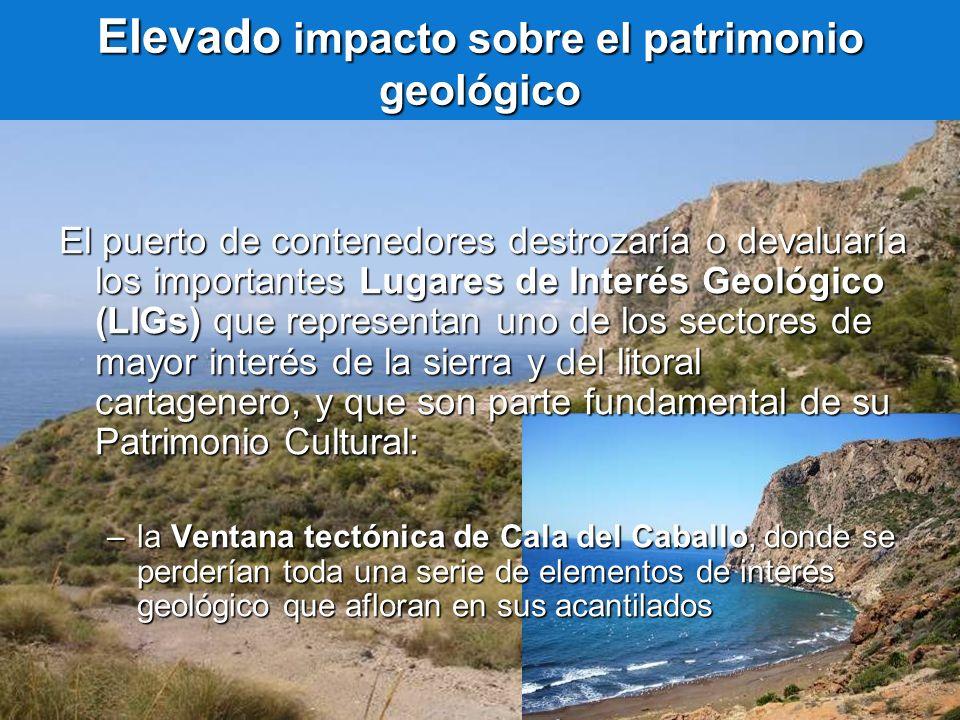 Elevado impacto sobre el patrimonio geológico El puerto de contenedores destrozaría o devaluaría los importantes Lugares de Interés Geológico (LIGs) q