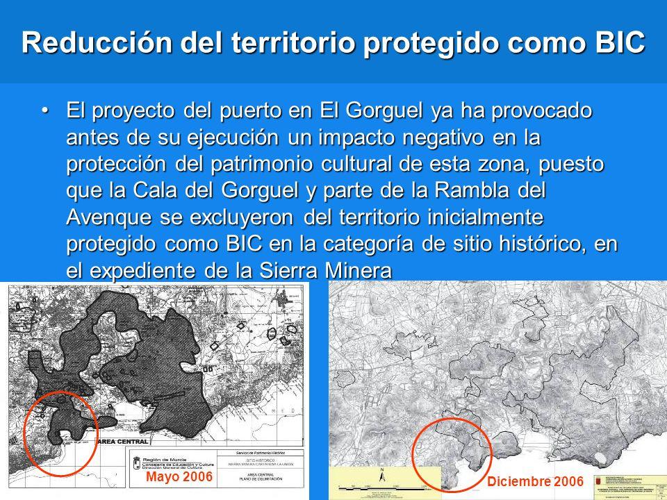 Reducción del territorio protegido como BIC El proyecto del puerto en El Gorguel ya ha provocado antes de su ejecución un impacto negativo en la prote