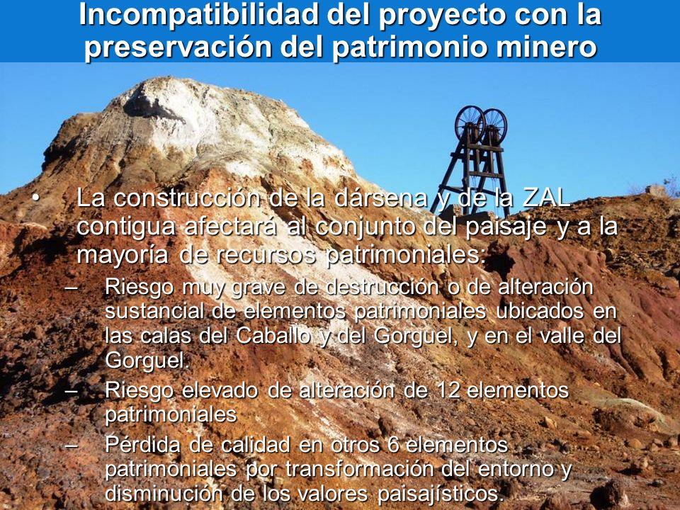 Incompatibilidad del proyecto con la preservación del patrimonio minero La construcción de la dársena y de la ZAL contigua afectará al conjunto del pa