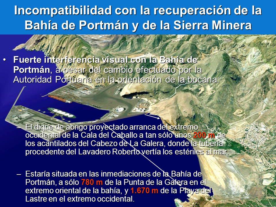 Incompatibilidad con la recuperación de la Bahía de Portmán y de la Sierra Minera Fuerte interferencia visual con la Bahía de Portmán, a pesar del cam