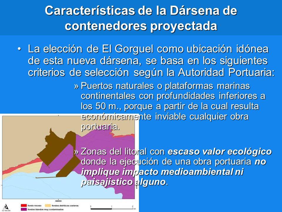 Características de la Dársena de contenedores proyectada La elección de El Gorguel como ubicación idónea de esta nueva dársena, se basa en los siguien