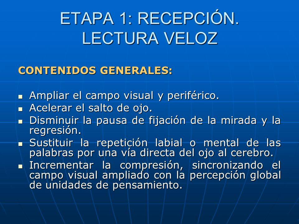 ETAPA 1: RECEPCIÓN. LECTURA VELOZ CONTENIDOS GENERALES: Ampliar el campo visual y periférico. Ampliar el campo visual y periférico. Acelerar el salto