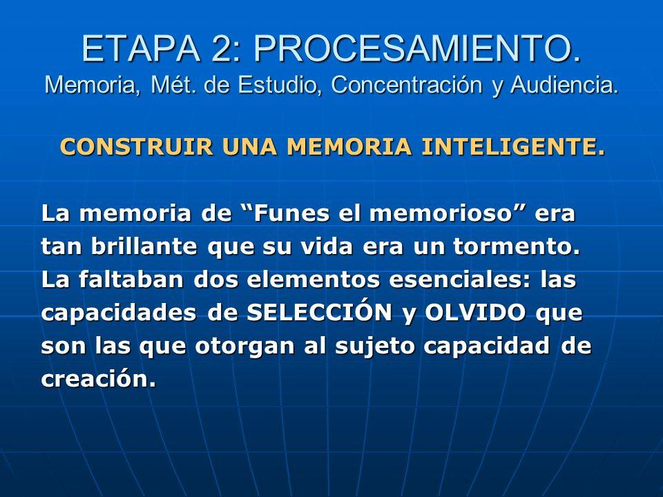 ETAPA 2: PROCESAMIENTO. Memoria, Mét. de Estudio, Concentración y Audiencia. CONSTRUIR UNA MEMORIA INTELIGENTE. La memoria de Funes el memorioso era t