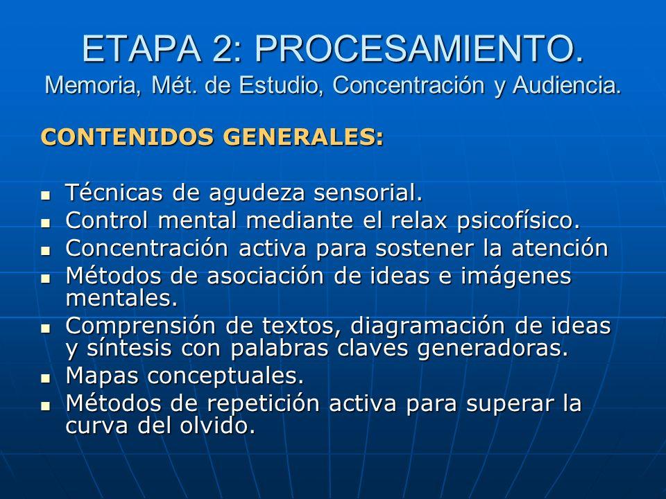 ETAPA 2: PROCESAMIENTO. Memoria, Mét. de Estudio, Concentración y Audiencia. CONTENIDOS GENERALES: Técnicas de agudeza sensorial. Técnicas de agudeza