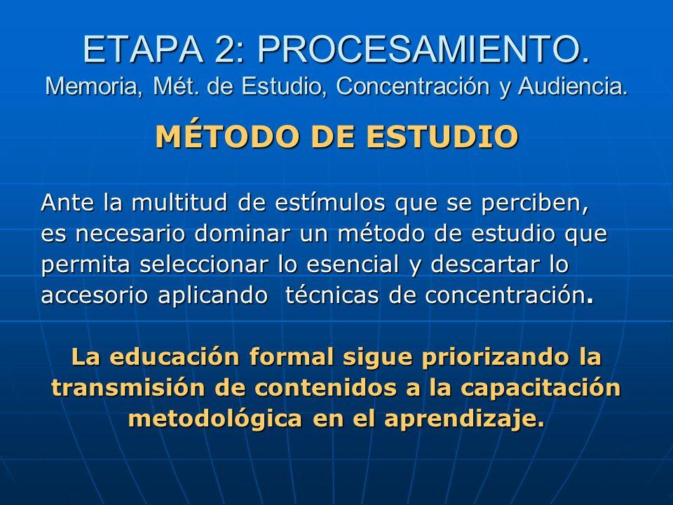 ETAPA 2: PROCESAMIENTO. Memoria, Mét. de Estudio, Concentración y Audiencia. MÉTODO DE ESTUDIO Ante la multitud de estímulos que se perciben, es neces