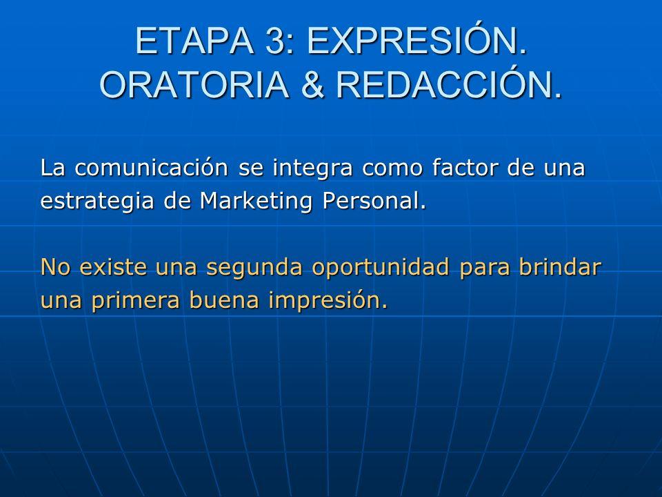 ETAPA 3: EXPRESIÓN. ORATORIA & REDACCIÓN. La comunicación se integra como factor de una estrategia de Marketing Personal. No existe una segunda oportu