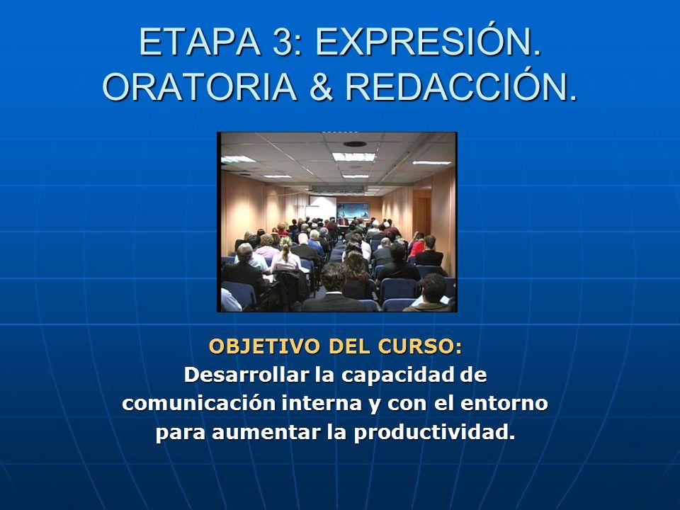 ETAPA 3: EXPRESIÓN. ORATORIA & REDACCIÓN. OBJETIVO DEL CURSO: Desarrollar la capacidad de comunicación interna y con el entorno para aumentar la produ