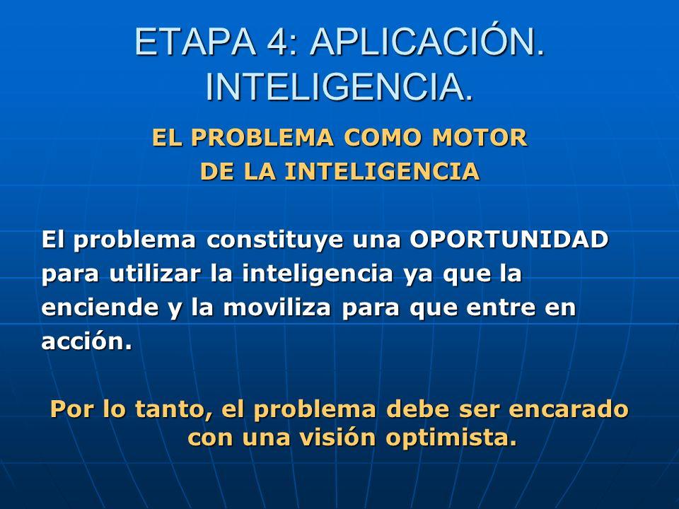 ETAPA 4: APLICACIÓN. INTELIGENCIA. EL PROBLEMA COMO MOTOR DE LA INTELIGENCIA El problema constituye una OPORTUNIDAD para utilizar la inteligencia ya q