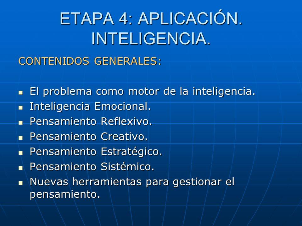 ETAPA 4: APLICACIÓN. INTELIGENCIA. CONTENIDOS GENERALES: El problema como motor de la inteligencia. El problema como motor de la inteligencia. Intelig