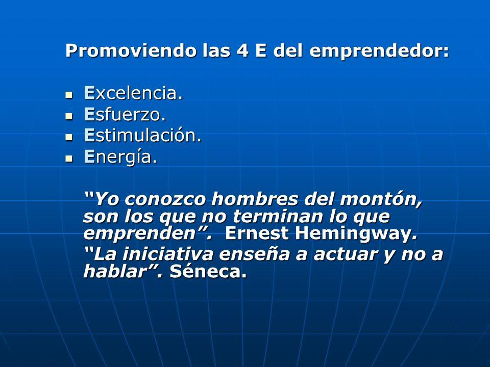 Promoviendo las 4 E del emprendedor: Excelencia. Excelencia. Esfuerzo. Esfuerzo. Estimulación. Estimulación. Energía. Energía. Yo conozco hombres del