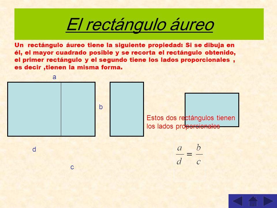 El rectángulo áureo Un rectángulo áureo tiene la siguiente propiedad: Si se dibuja en él, el mayor cuadrado posible y se recorta el rectángulo obtenid