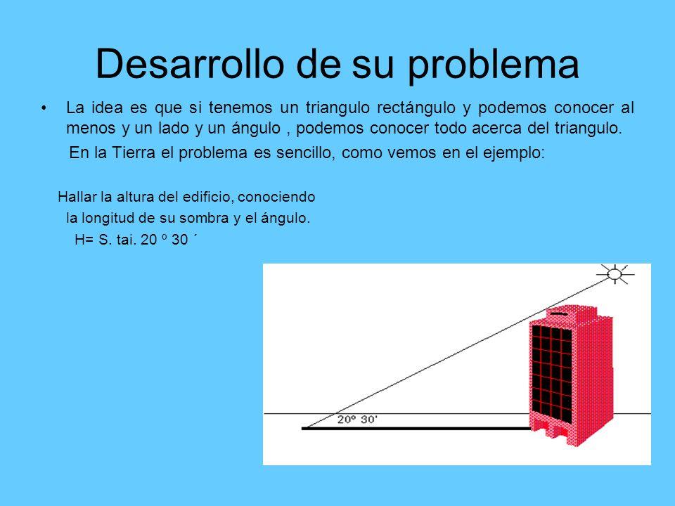 Desarrollo de su problema La idea es que si tenemos un triangulo rectángulo y podemos conocer al menos y un lado y un ángulo, podemos conocer todo ace