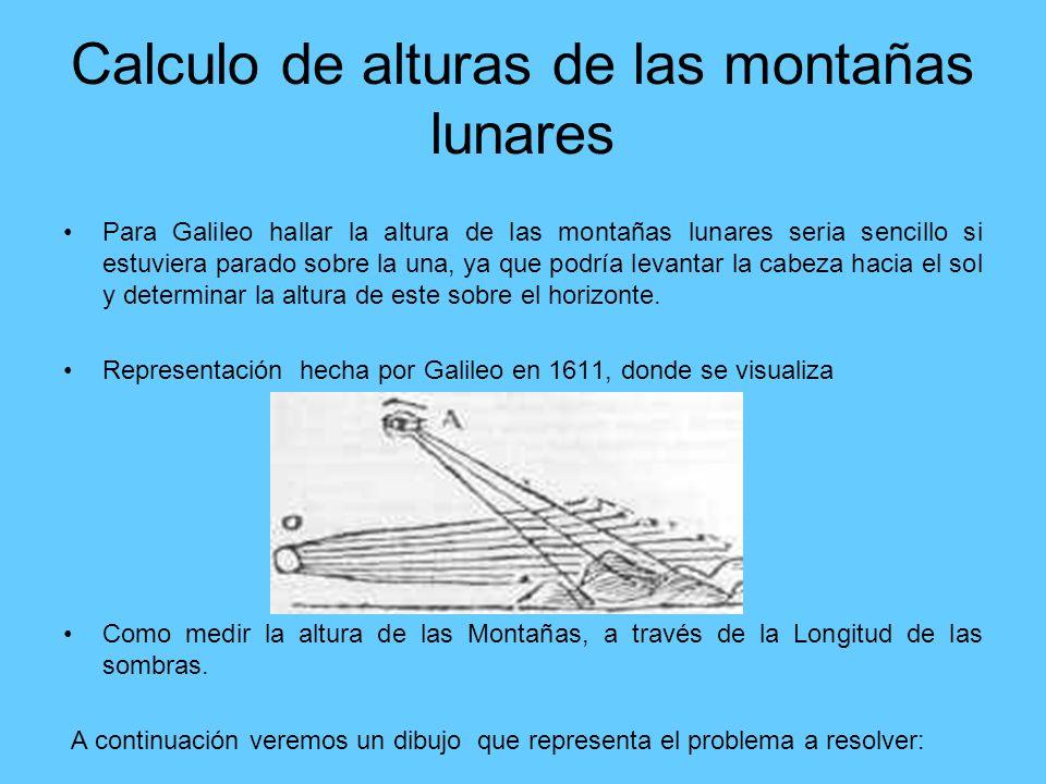 Calculo de alturas de las montañas lunares Para Galileo hallar la altura de las montañas lunares seria sencillo si estuviera parado sobre la una, ya q