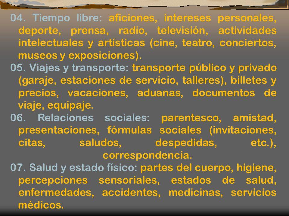 04. Tiempo libre: aficiones, intereses personales, deporte, prensa, radio, televisión, actividades intelectuales y artísticas (cine, teatro, concierto